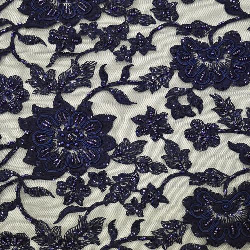 Tissu tulle brodé perlé bleu marine