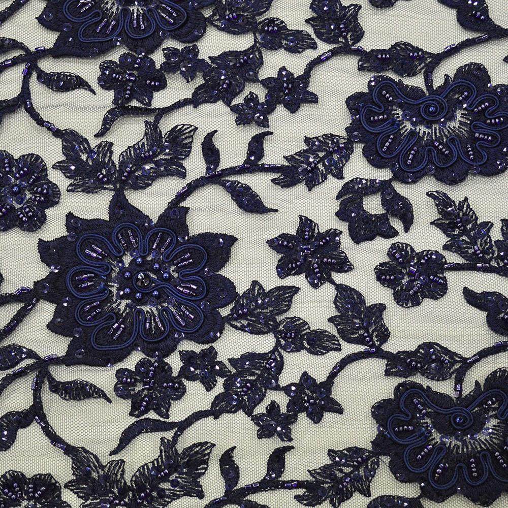 tissu tulle brod perl bleu marine. Black Bedroom Furniture Sets. Home Design Ideas