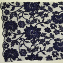 Navy blue beaded embroidered tulle fabric