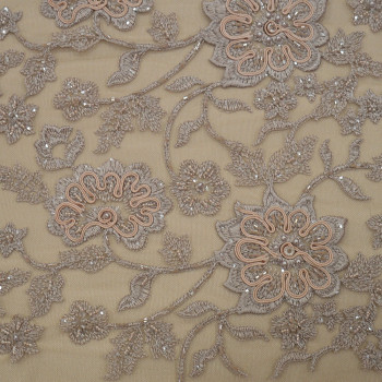 Sand beige beaded embroidered tulle fabric