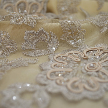 Sand beige beaded and embroidered tulle fabric