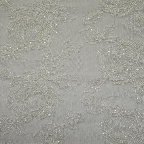 Ivory beaded embroidered tulle fabric