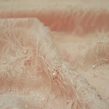 Tissu tulle brodé perlé rose