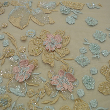 Jade pink champagne beaded embroidered tulle fabric