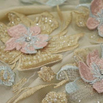 Jade pink champagne beaded and embroidered tulle fabric