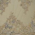 Mother-of-pearl beaded embroidered tulle fabric