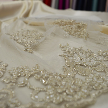 Champagne beaded and embroidered tulle fabric