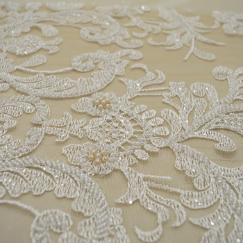 Flesh beaded embroidered tulle fabric
