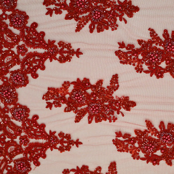Red beaded embroidered tulle fabric