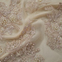 Old rose beaded embroidered tulle fabric