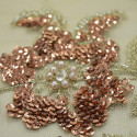 Tissu tulle brodé perlé or/cuivre