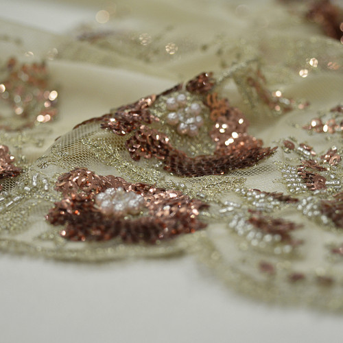 Gold copper beaded embroidered tulle fabric