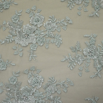 Sky blue beaded embroidered tulle fabric