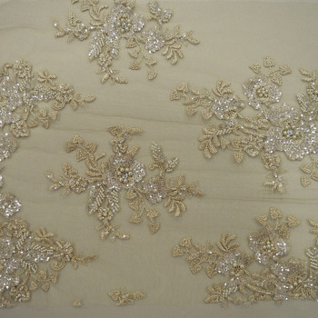 Champagne beaded embroidered tulle fabric
