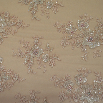 Pink beaded embroidered tulle fabric