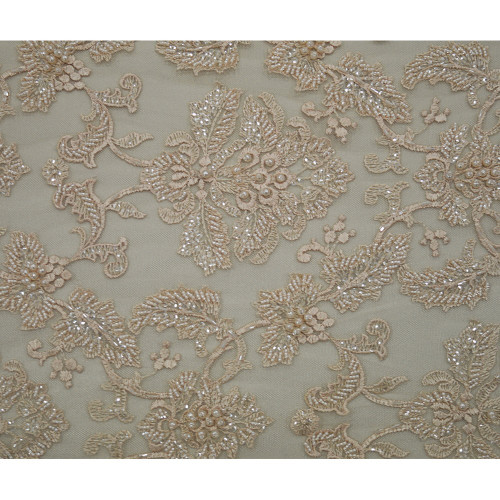 Peach beaded embroidered tulle fabric