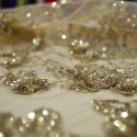 Gold beaded embroidered tulle fabric