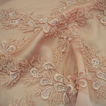 Pink beaded and embroidered tulle fabric
