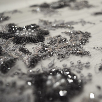 Silver/charcoal grey beaded and embroidered tulle fabric
