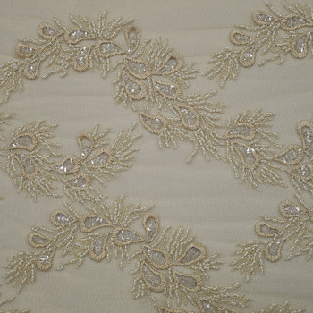 Champagne embroidered tulle fabric