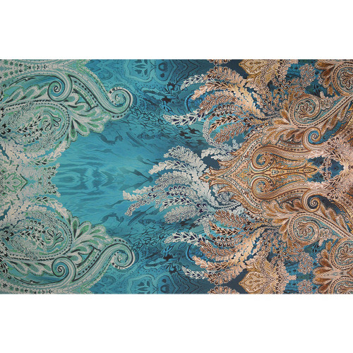 Tissu voile mousseline imprimé dégradé bleu or