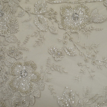 Embroidered tulle fabric silver