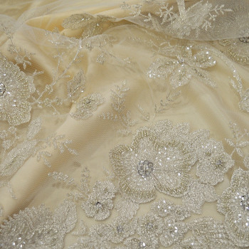Silver beaded and embroidered tulle fabric