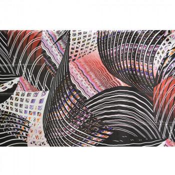 Red geometric printed silk chiffon fabric