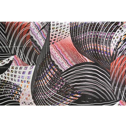 Tissu mousseline de soie imprimé géométrique rouge