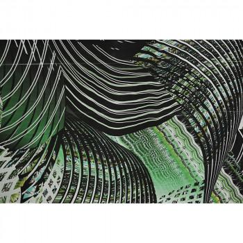 Green geometric printed silk chiffon fabric