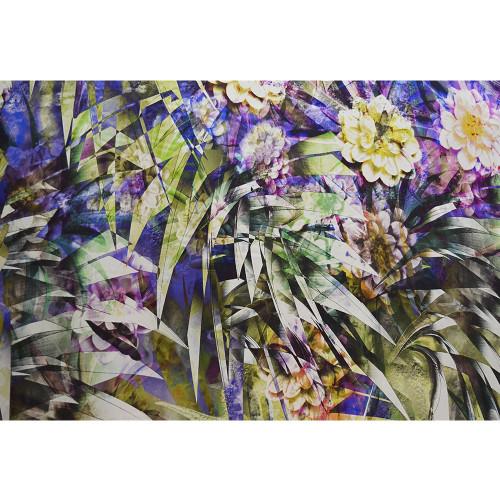 Foliage printed silk satin fabric