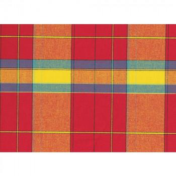 Tissu madras 100% coton fond rouge et jaune