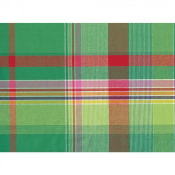 Green background 100% cotton madras fabric