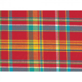 Red background 100% cotton madras fabric