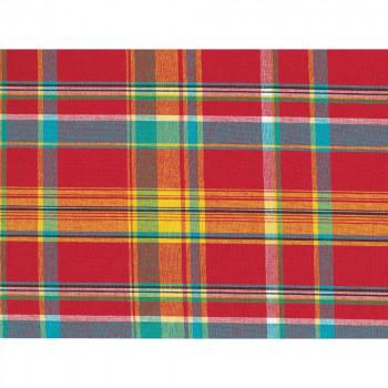 Tissu madras 100% coton fond rouge