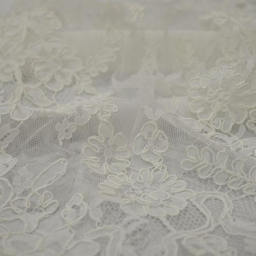 Tissu dentelle rebrodée ivoire