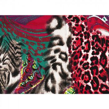 Tissu satin de coton imprimé panthère rouge