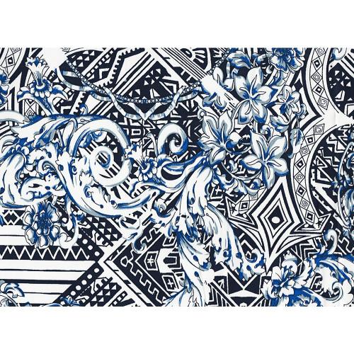 Tissu satin de coton imprimé fleurs géométriques bleu