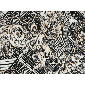 Geometric flowers printed cotton satin fabric