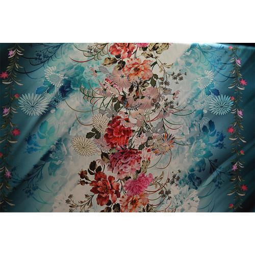 Tissu voile mousseline imprimé motif japonais kimono
