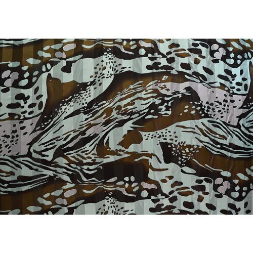 Tissu mousseline de soie imprimé bande satin peau de bête