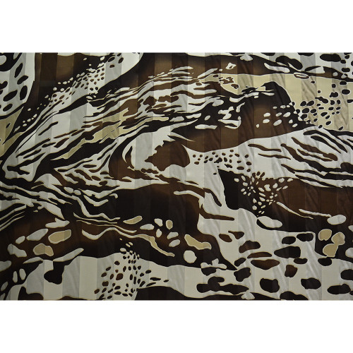 Silk chiffon fabric printed animal skin with satin bands