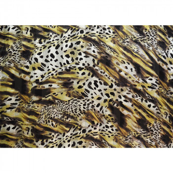 Silk chiffon fabric printed leopard with satin bands