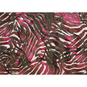 Silk chiffon fabric printed zebra with satin bands
