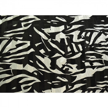 Black and white printed silk chiffon fabric