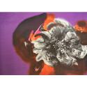 Flower-print silk chiffon fabric