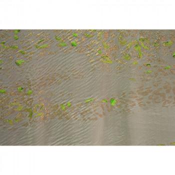 Tissu mousseline dégradée imprimée paillettes peint à la main vert