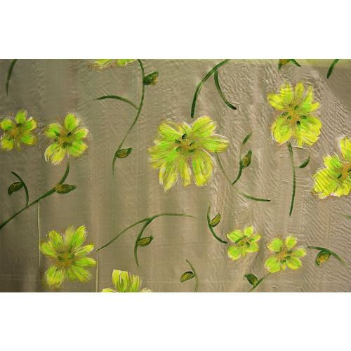 Tissu mousseline imprimée paillettes peint à la main vert