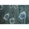 Tissu mousseline imprimée paillettes peint à la main turquoise