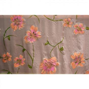 Tissu mousseline imprimée paillettes peint à la main rose